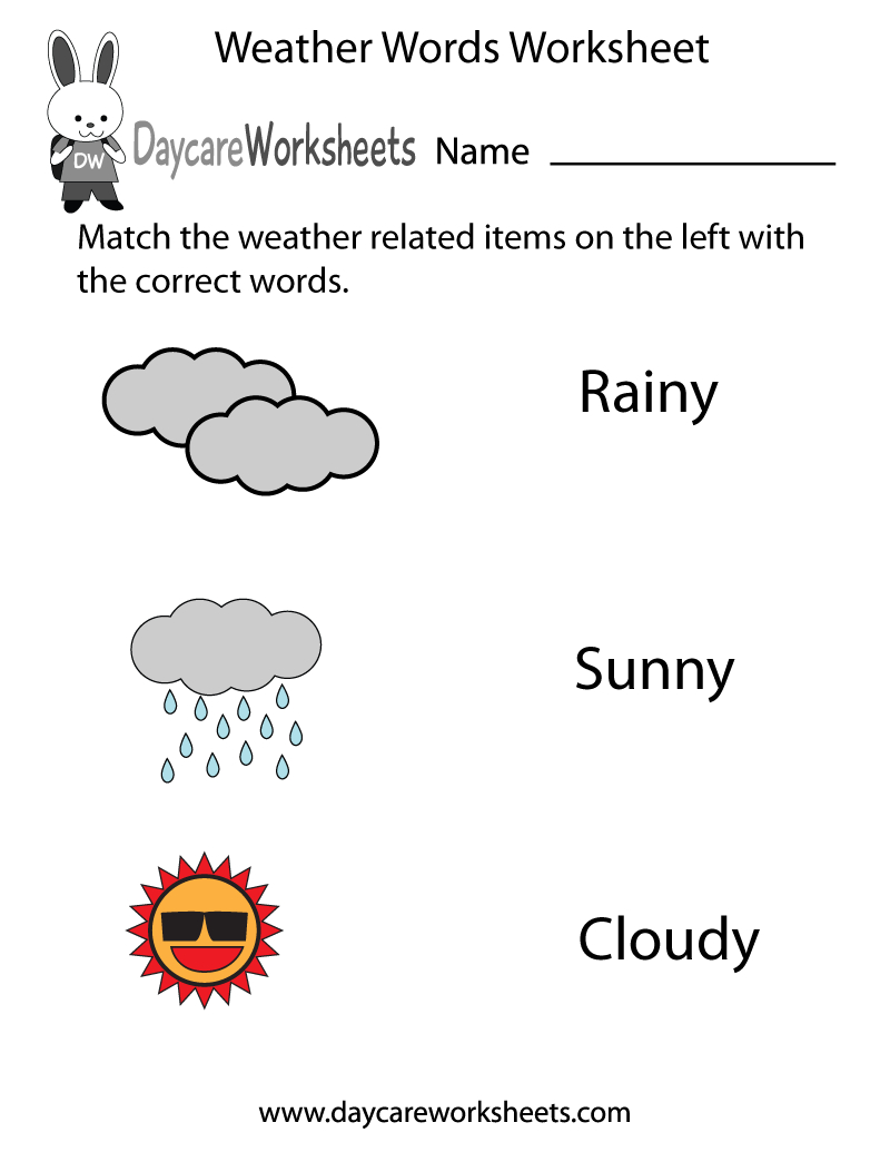 Free Preschool Weather Words Worksheet Within Weather Worksheets Pdf