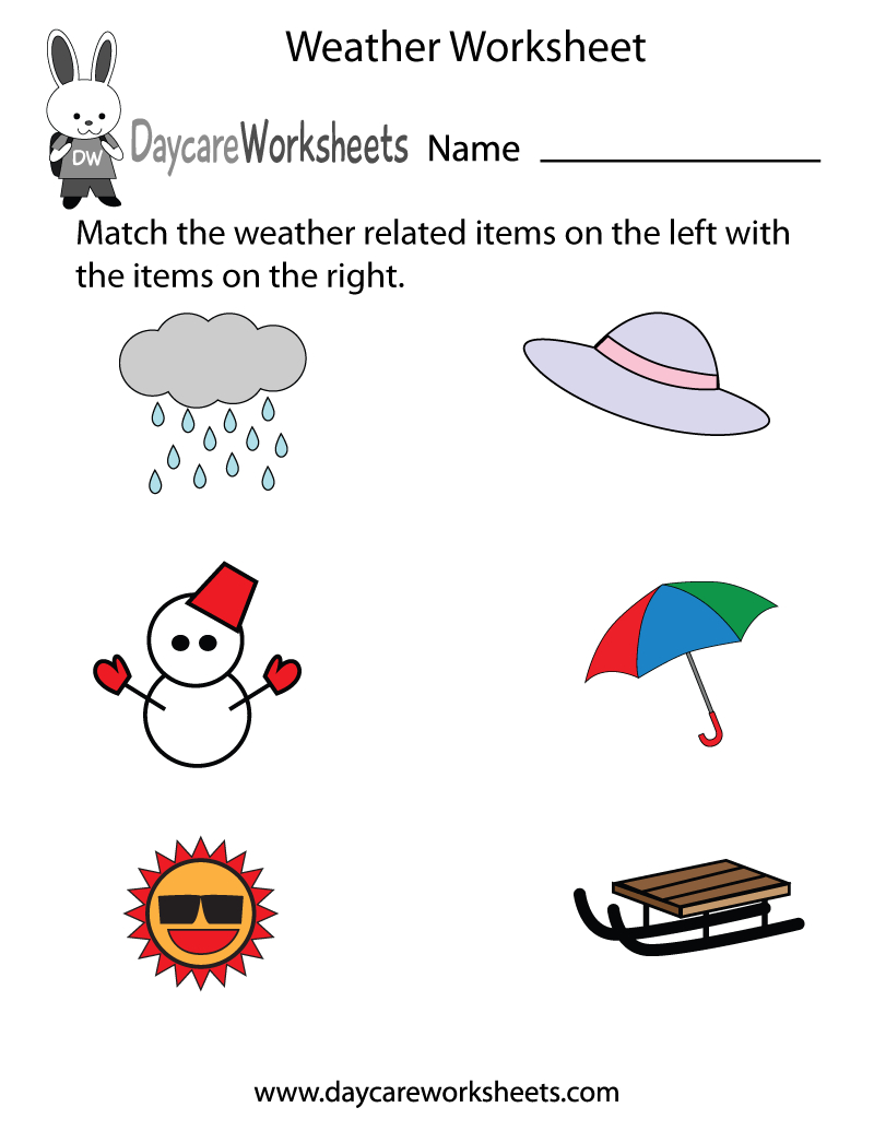 Free Preschool Weather Worksheet Intended For Weather Worksheets Pdf