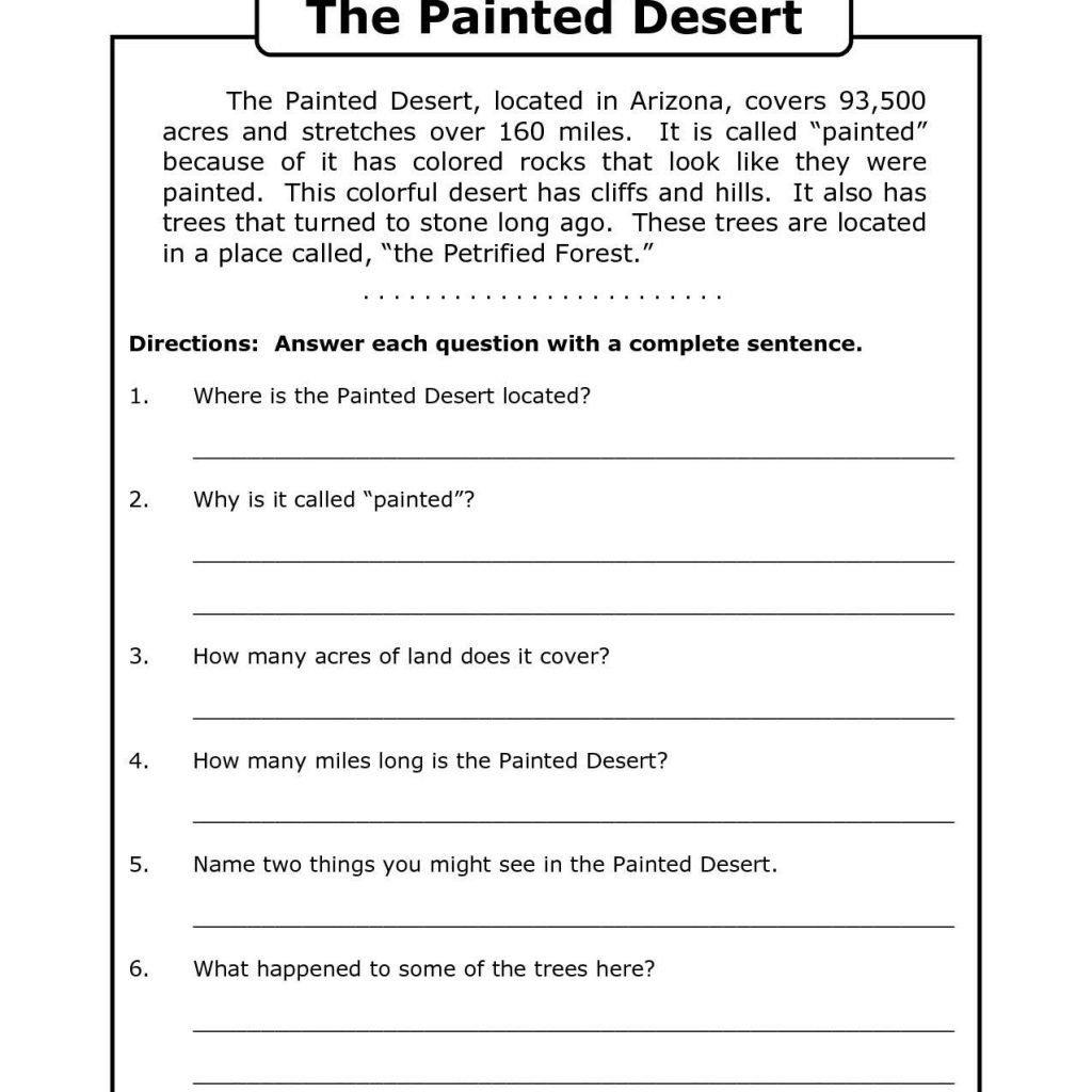 Free Printable 8Th Grade Reading Comprehension Worksheets 17 Intended For Comprehension Worksheets For Grade 3