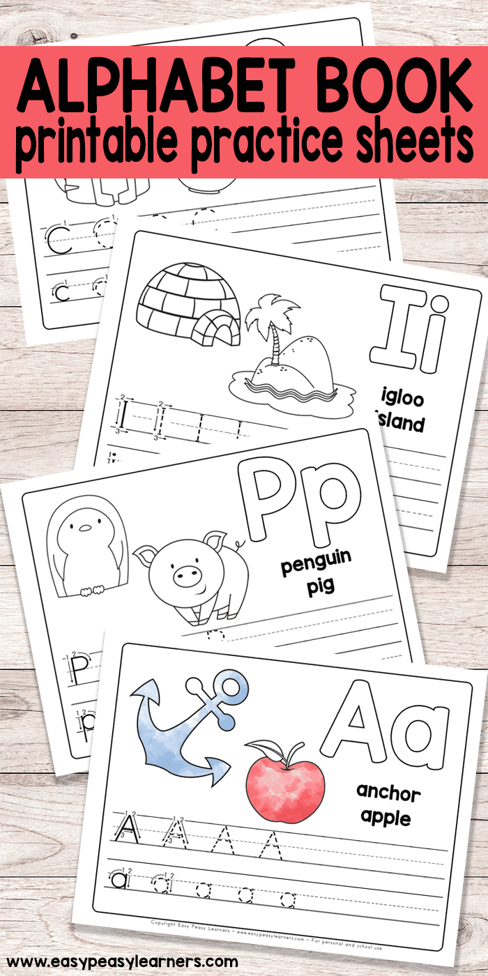 Free Printable Alphabet Book  Alphabet Worksheets For Prek And K With Free Printable Abc Worksheets