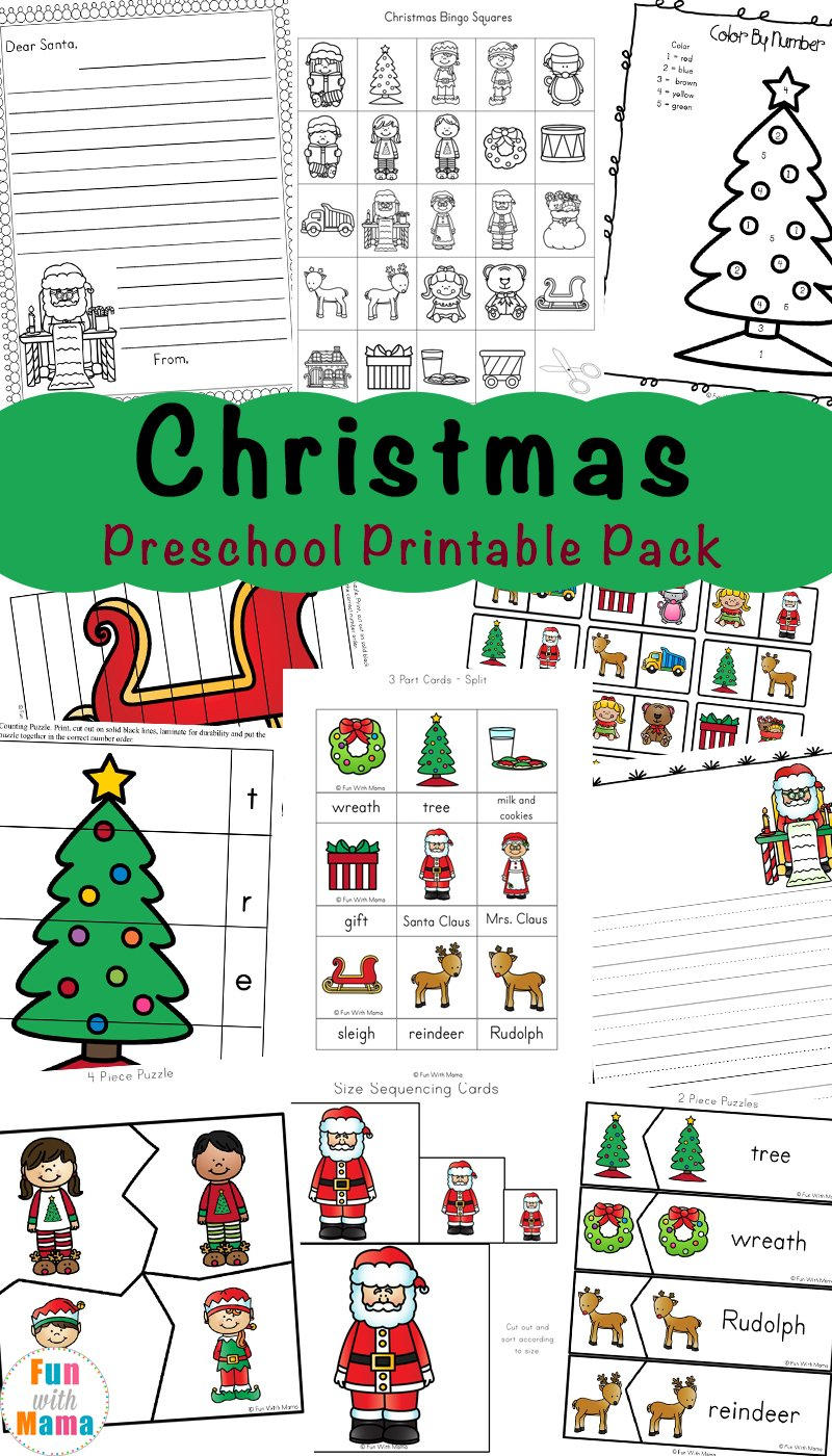 Free Printable Christmas Worksheets  Fun With Mama Regarding Christmas Worksheets For Preschool