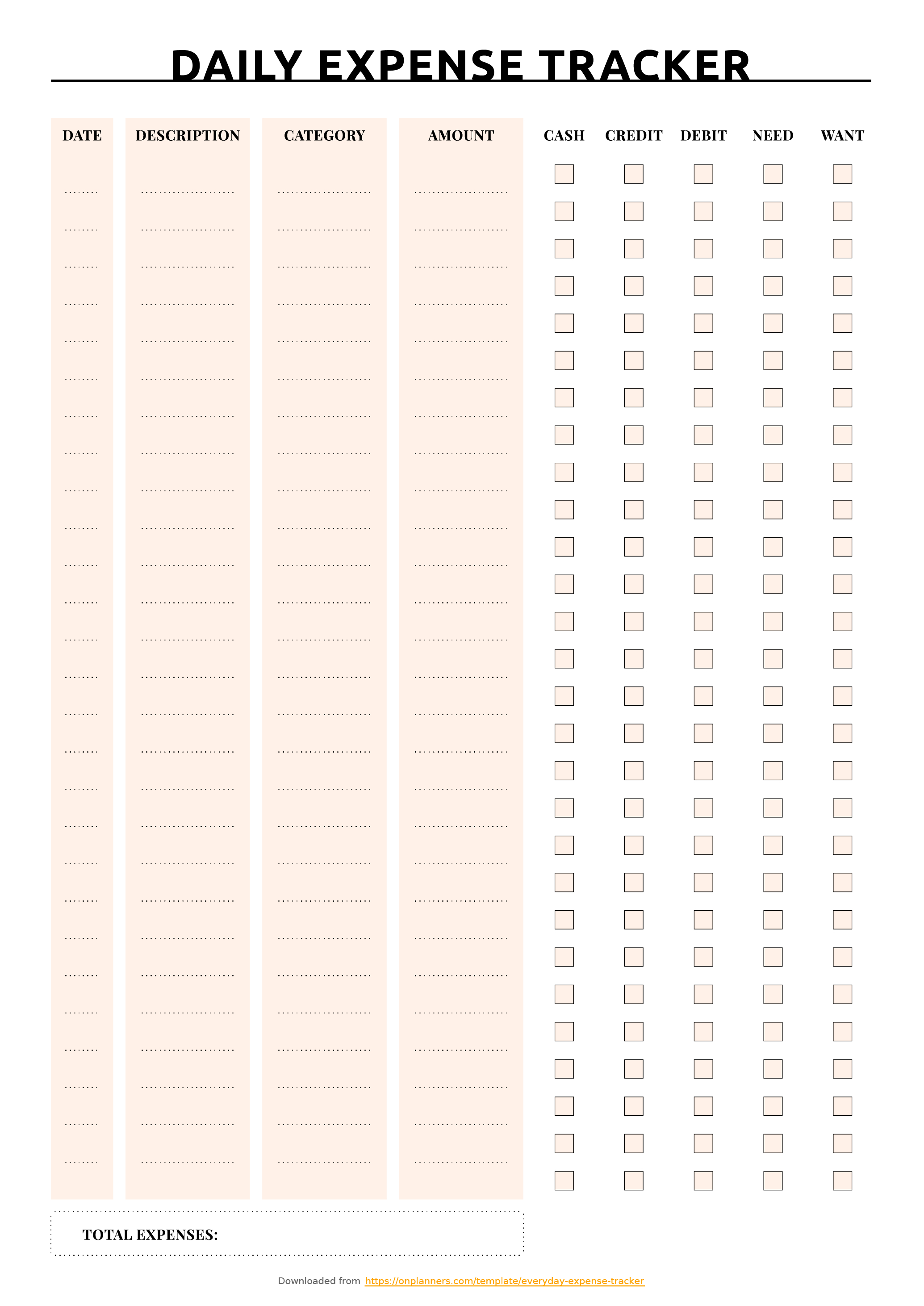 Free Printable Everyday Expense Tracker Pdf Download Or Daily Expenses Tracker