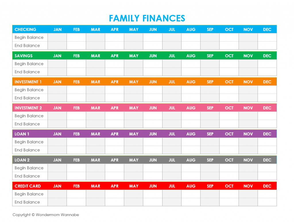 Free Printable Family Budget Worksheets With Family Finances Worksheet