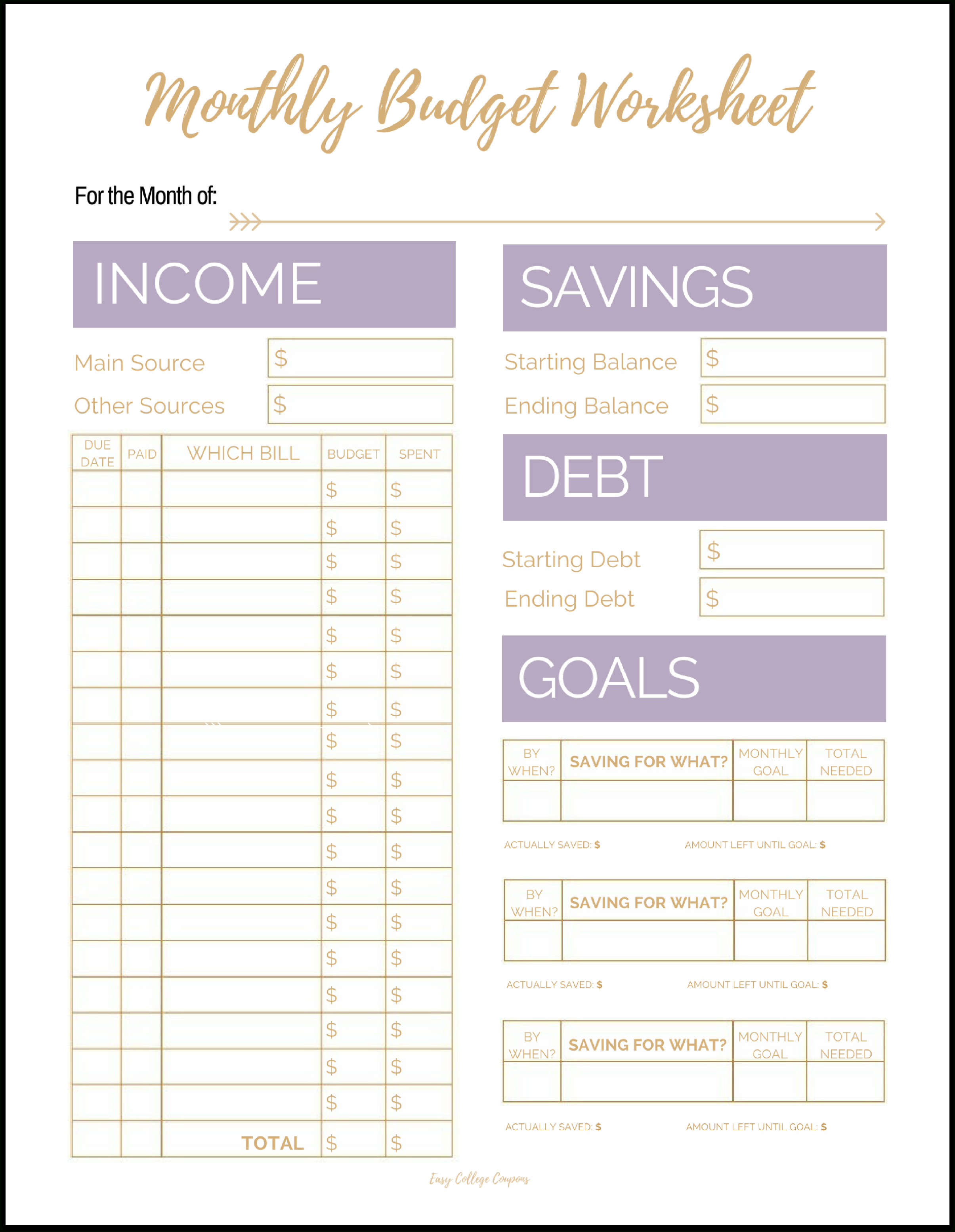 Free Printable Monthly Budget Template And Free Monthly Budget Worksheets