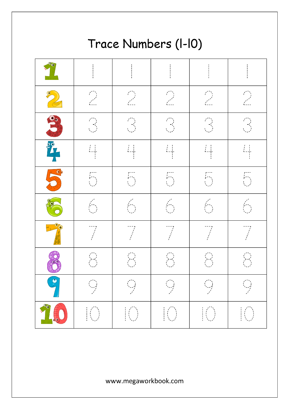 Free Printable Number Tracing And Writing 110 Worksheets  Number Or Writing Numbers Worksheet