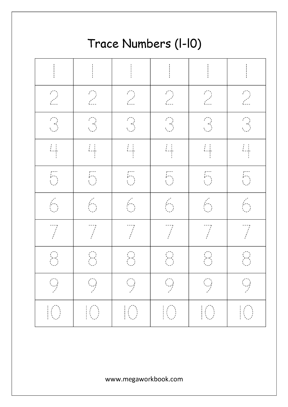 Free Printable Number Tracing And Writing 110 Worksheets  Number Throughout Writing Numbers Worksheet