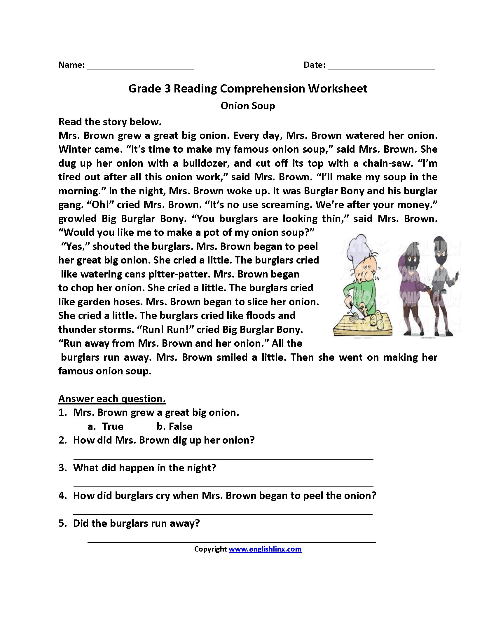 Free Printable Reading Comprehension Worksheets  Yooob Throughout Free Reading Comprehension Worksheets For 3Rd Grade