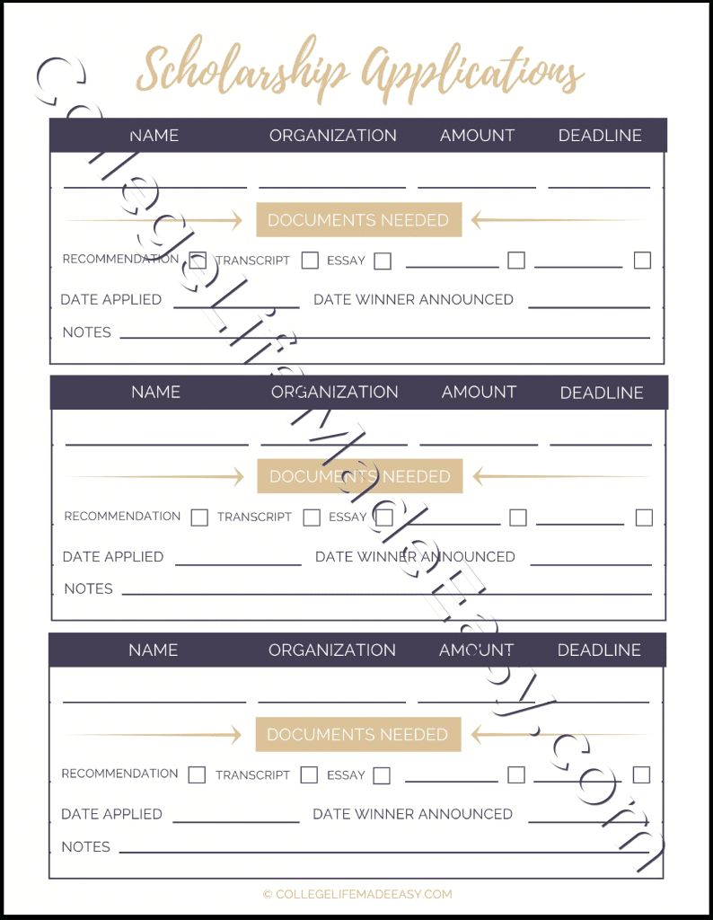 Free Printable Scholarship Application Tracker Worksheets Together With Scholarship Tracker Worksheet