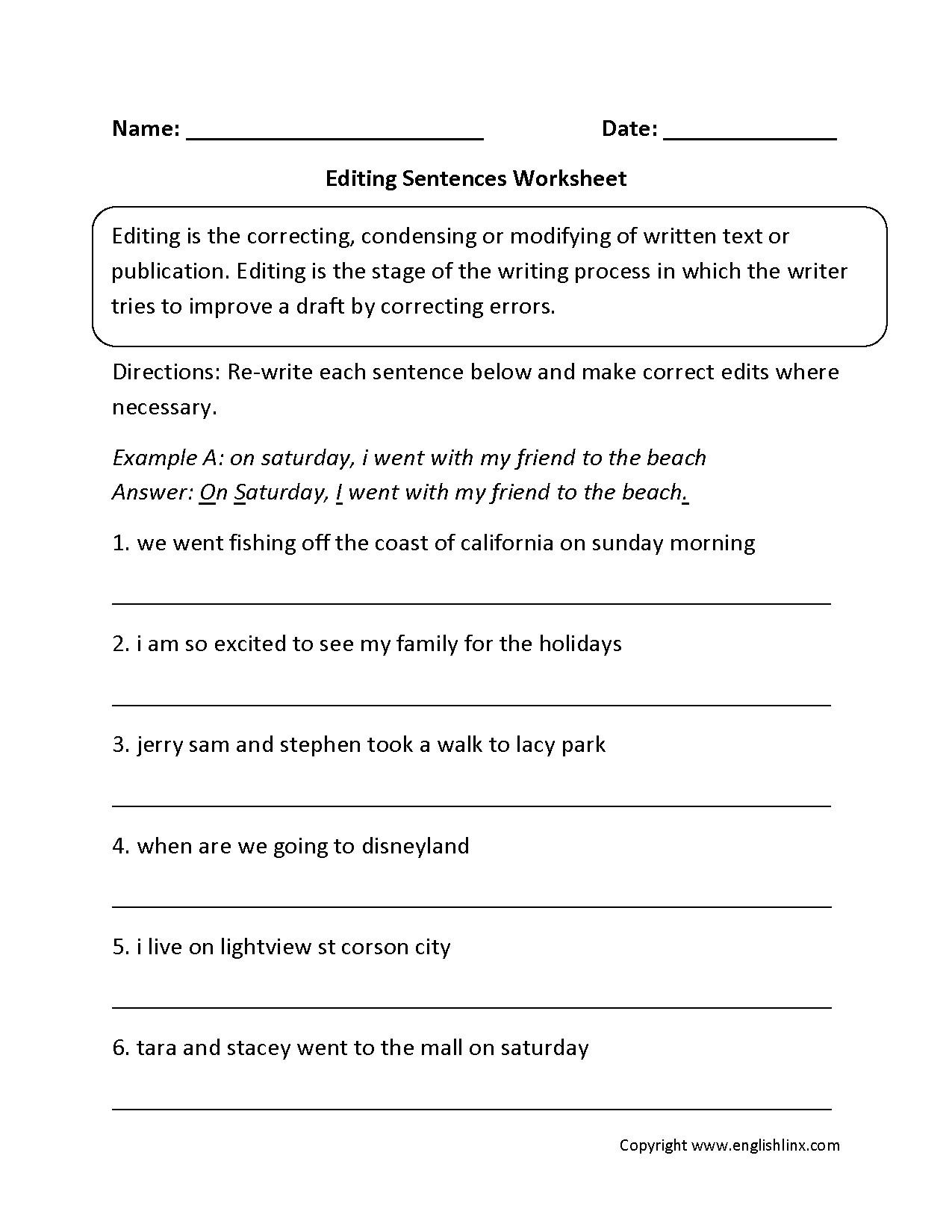 Free Printable Sentence Correction Worksheets  Free Printable Regarding Grammar Correction Worksheets