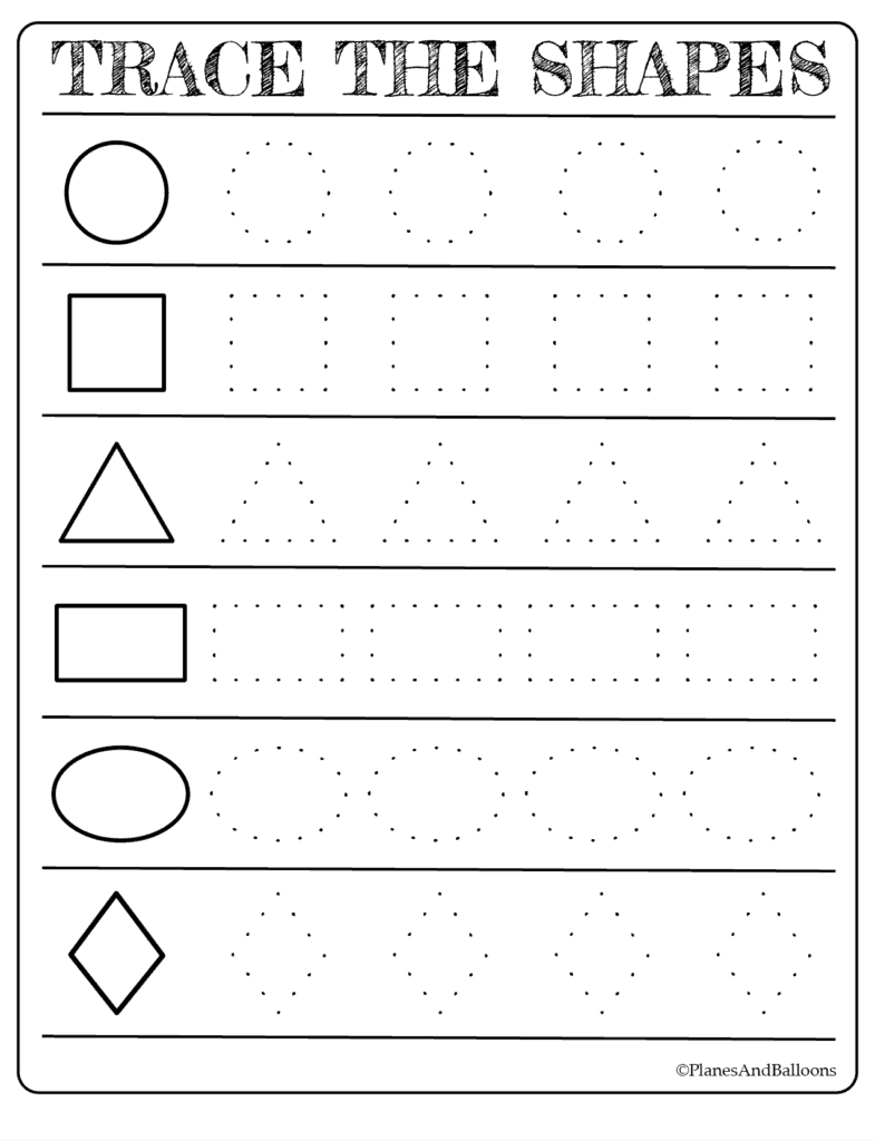 Free Printable Shapes Worksheets For Toddlers And Preschoolers Inside Preschool Tracing Worksheets