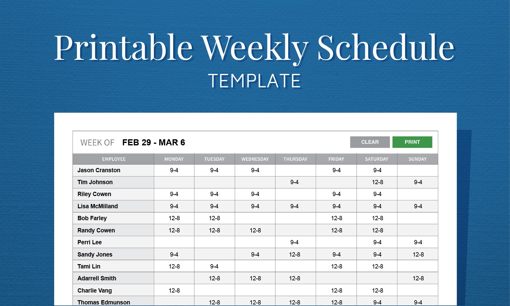 Free Printable Weekly Work Schedule Template For Employee Scheduling ... Regarding Employee Work Schedule Spreadsheet