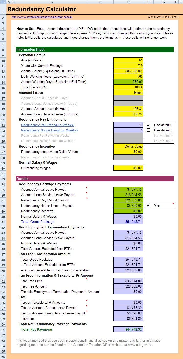 Free Redundancy Entitlements Calculator Spreadsheet In Excel For Redundancy Calculator Spreadsheet 2018
