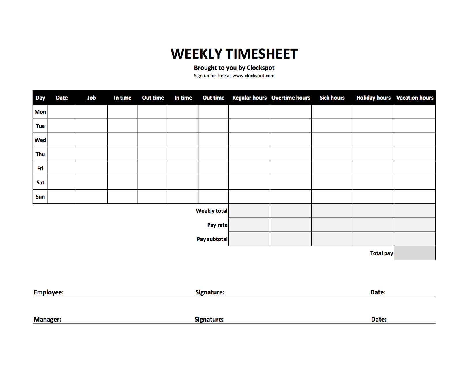 Free Time Tracking Spreadsheets | Excel Timesheet Templates For Spreadsheet To Track Hours Worked