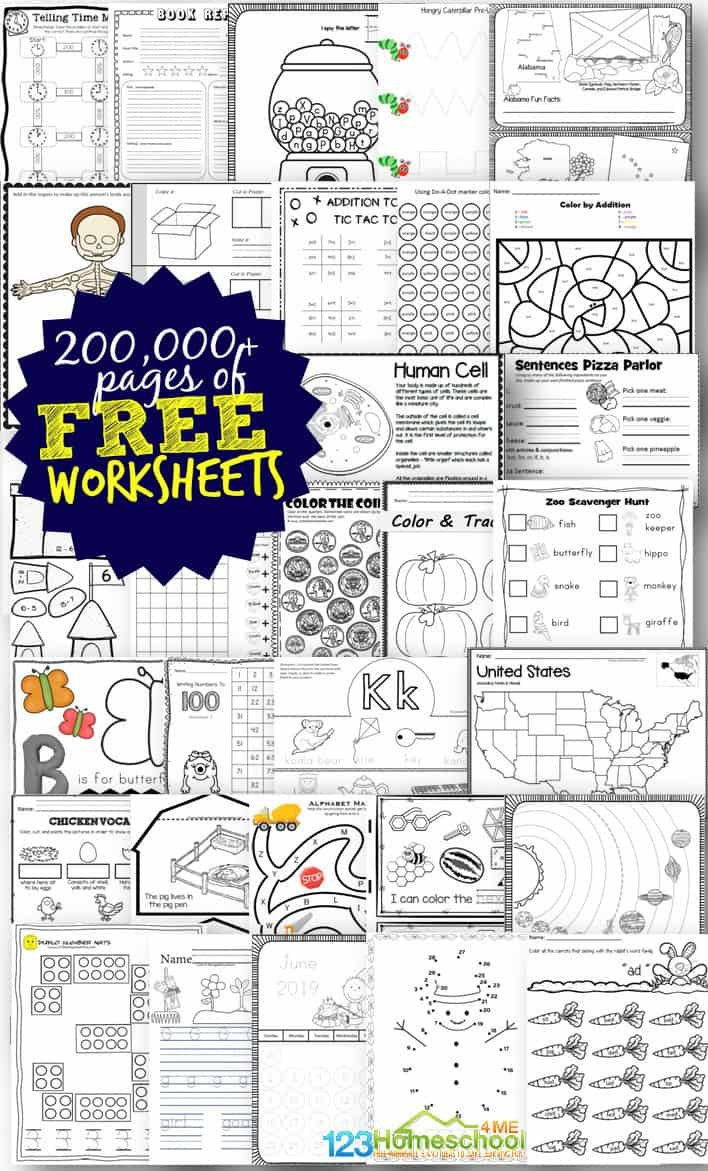 Free Worksheets  200000 For Prek6Th  123 Homeschool 4 Me Or Free Homeschool Printable Worksheets