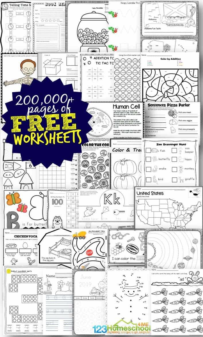 Free Worksheets  200000 For Prek6Th  123 Homeschool 4 Me Pertaining To Free Worksheets For Preschoolers Printables