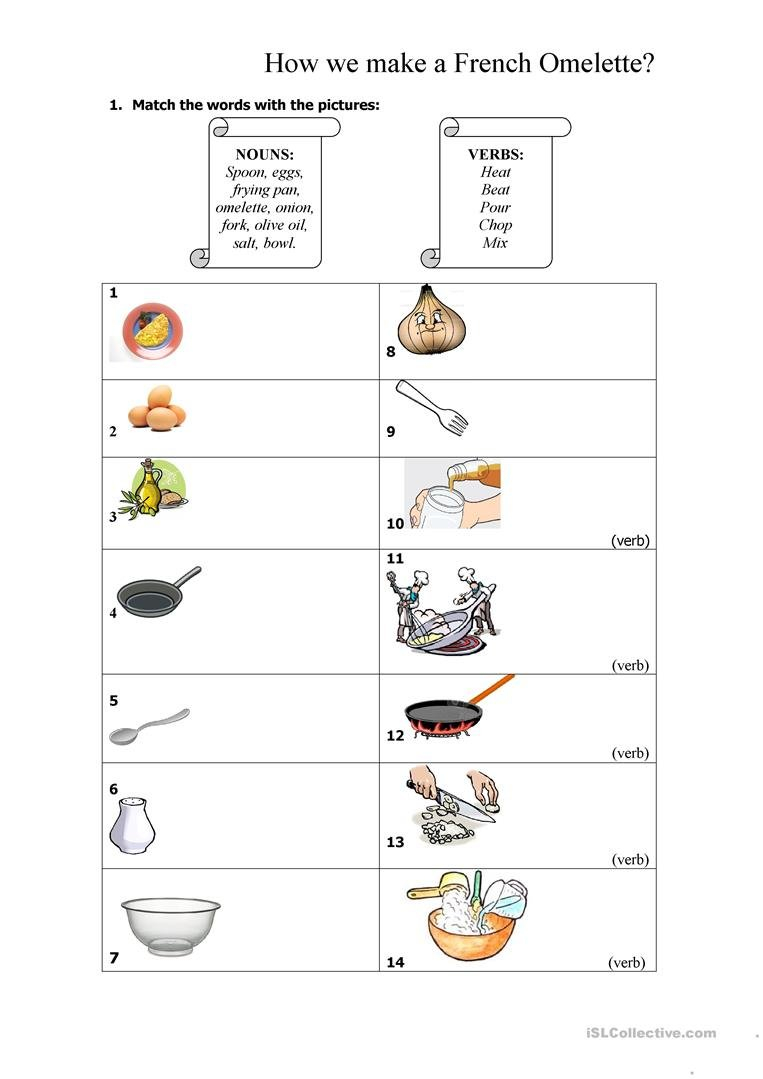 French Omelette Recipe Worksheet  Free Esl Printable Worksheets With Regard To Reading A Recipe Worksheet