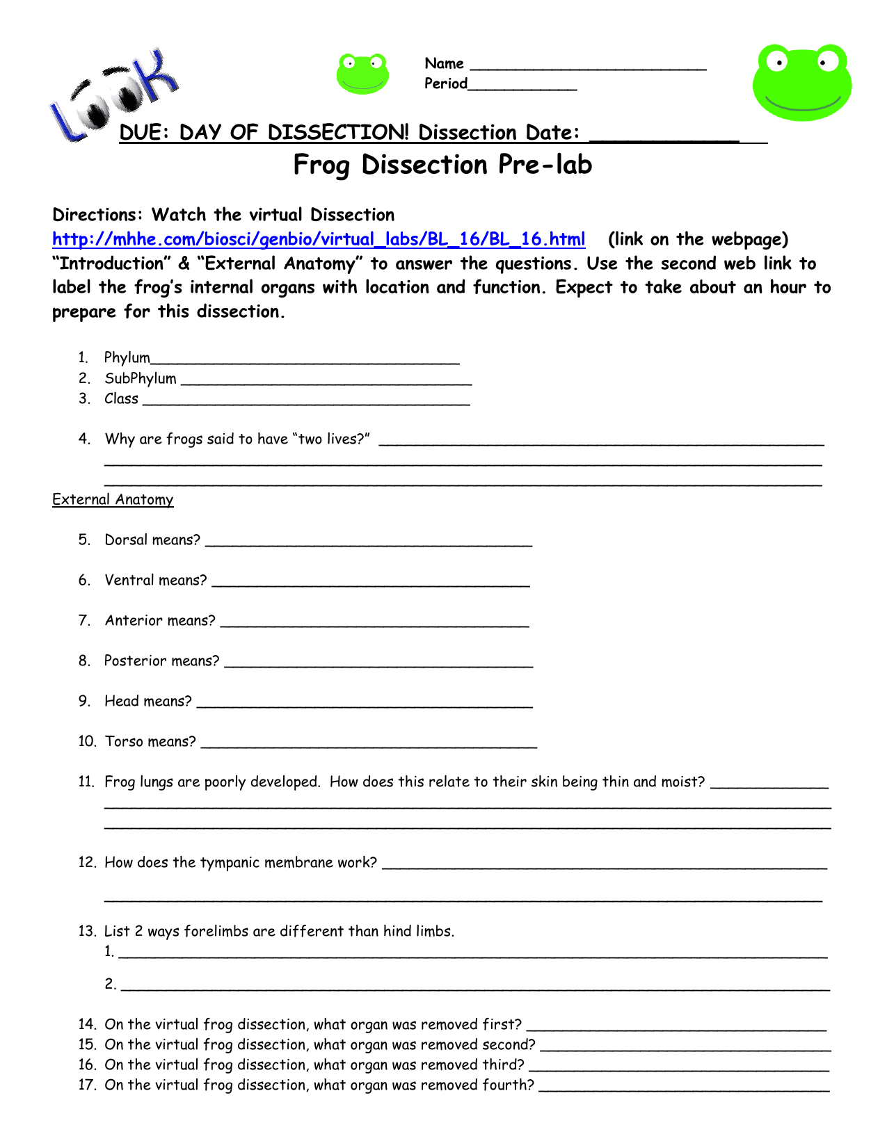 Frog Dissection Worksheet For Frog Dissection Worksheet Answers