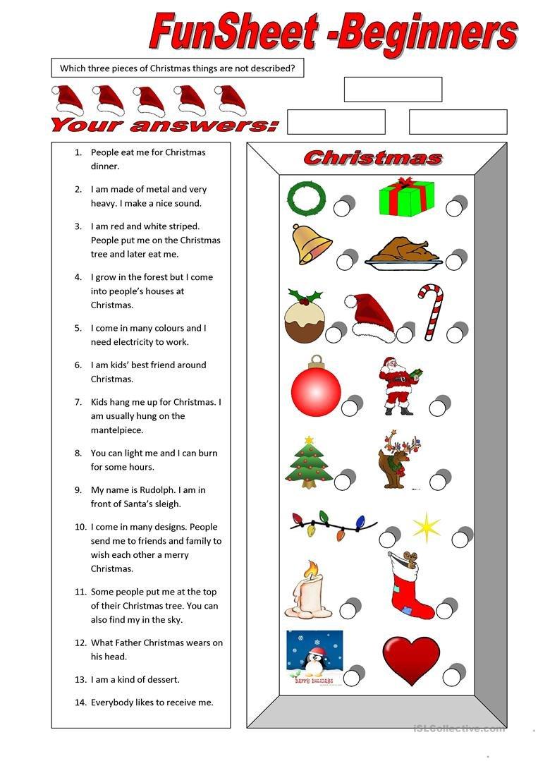 Funsheet For Beginners Christmas Worksheet  Free Esl Printable For Esl Worksheets For Beginners