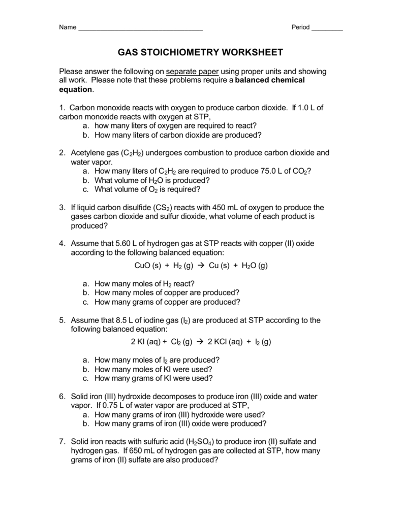 Gas Stoichiometry Worksheet And Gas Stoichiometry Worksheet With Solutions