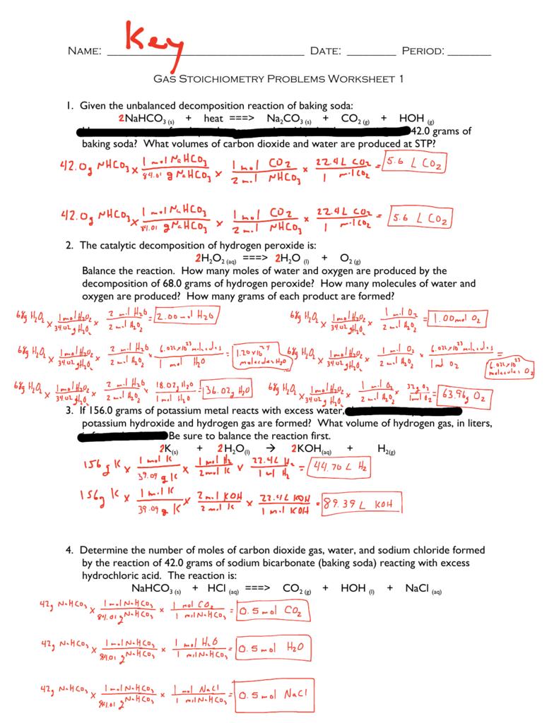 Gas Stoichiometry Worksheet Answer Key Or Gas Stoichiometry Worksheet With Solutions