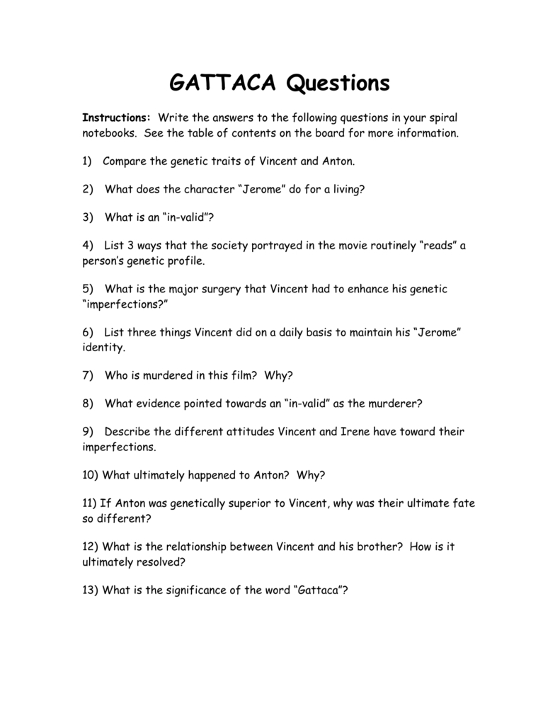 Gattaca Questions Together With Gattaca Worksheet Biology Answers