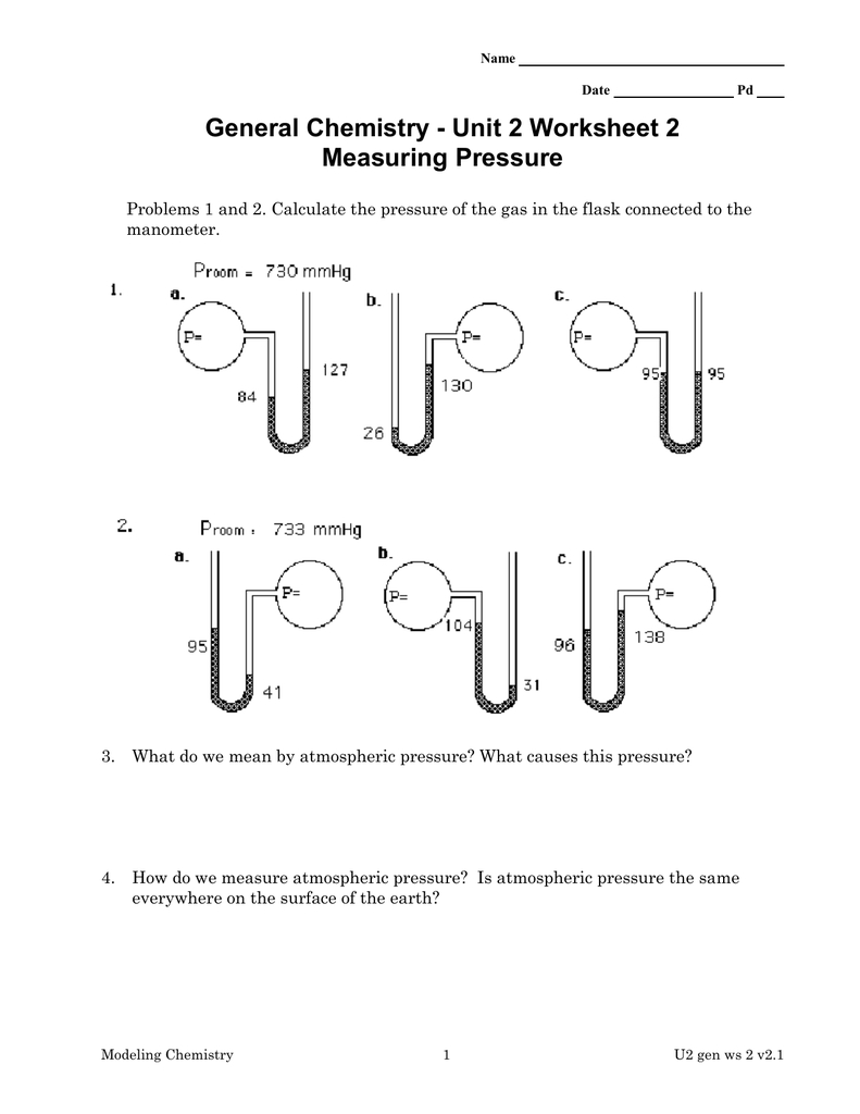 General Chemistry  Unit 2 Worksheet 2 Measuring Pressure And Unit 2 Worksheet 2 Measuring Pressure