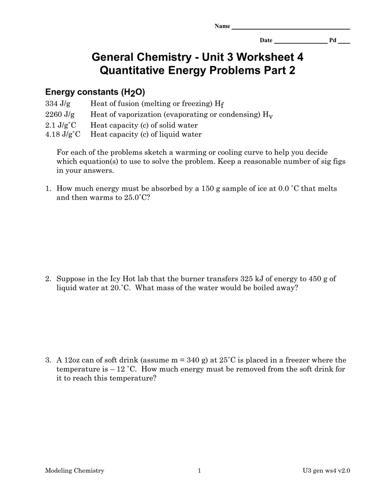 General Chemistry  Unit 3 Worksheet 4 Energy Constants H2O Intended For Unit 3 Worksheet 4 Quantitative Energy Problems Part 2 Answers