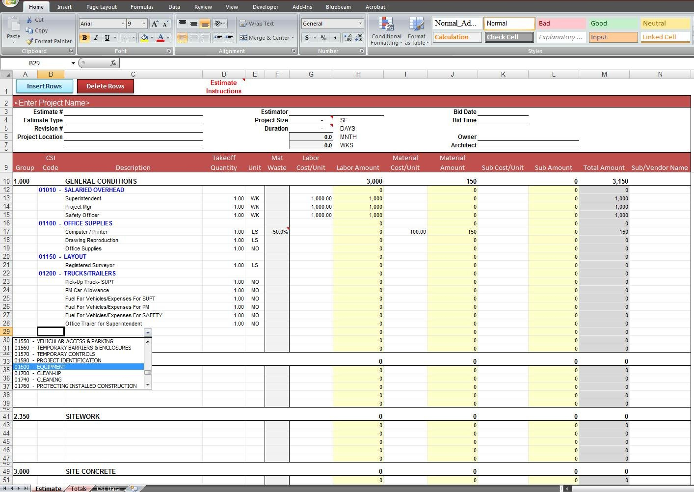 General Construction Estimate Template | Cost Construction Sheet And Masonry Estimating Spreadsheet