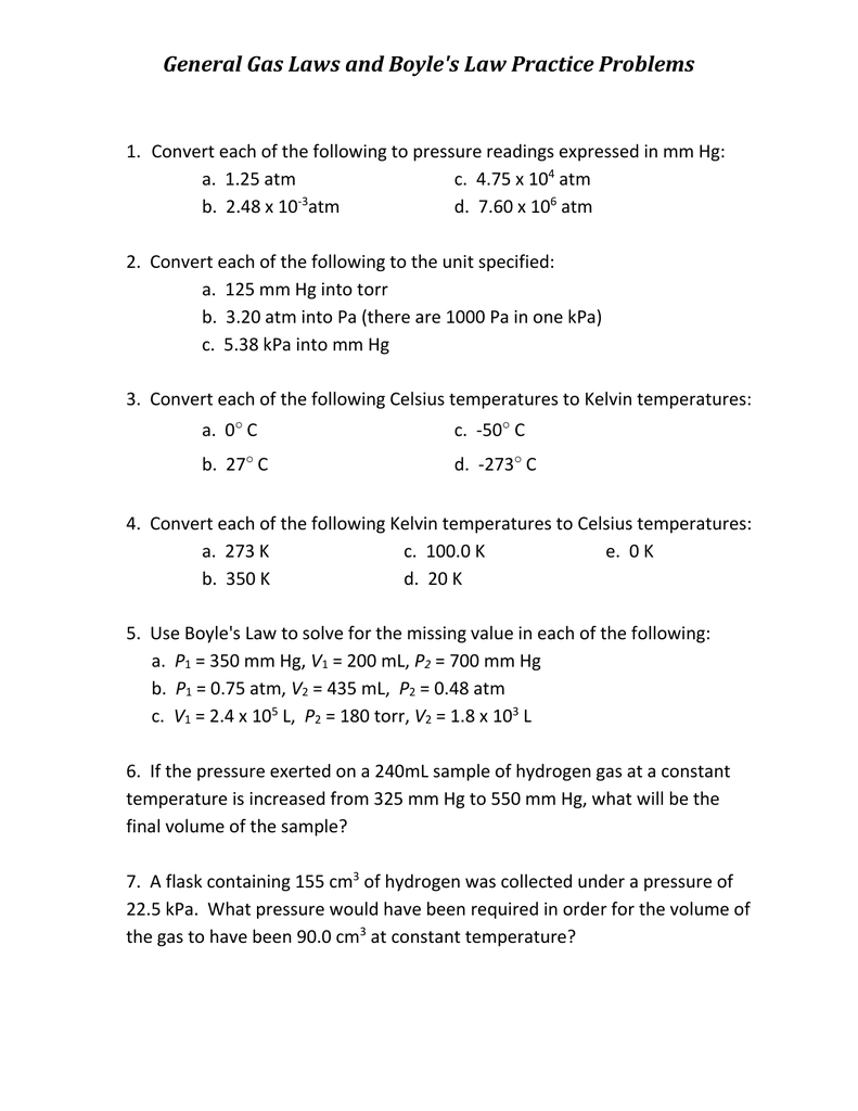 General Gas Laws And Boyle's Law Practice Problems Together With Gas Laws Practice Worksheet