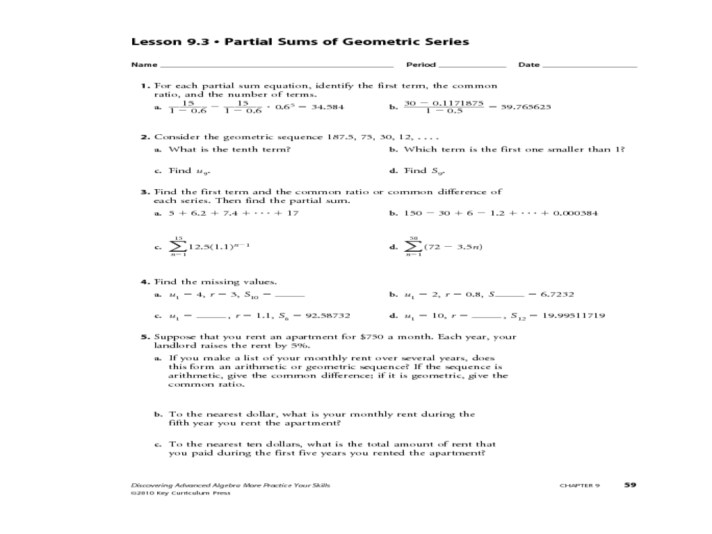 Geometric Sequences And Series Worksheet Answers  Newatvs As Well As Arithmetic Sequences And Series Worksheet Answers