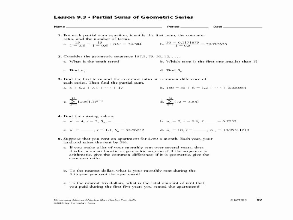 Geometric Sequences And Series Worksheet Answers Periodic Trends And Arithmetic Sequence Worksheet 1