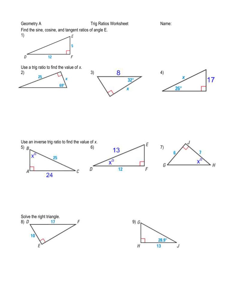 Geometry A Trig Ratios Worksheet Name Find The Sine Cosine And For Trigonometric Ratios Worksheet