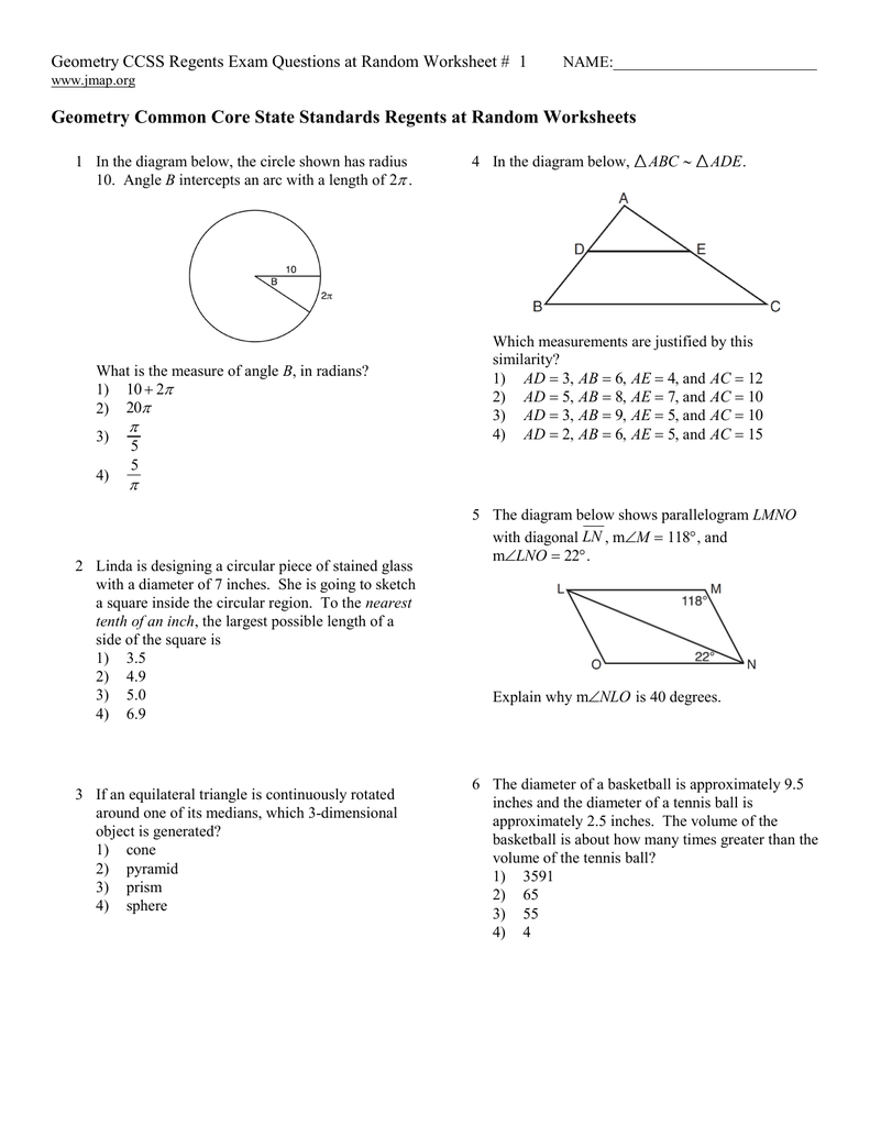Geometry Common Core State Standards Regents At Also Algebra 1 Ccss Regents Exam Questions At Random Worksheet Answers