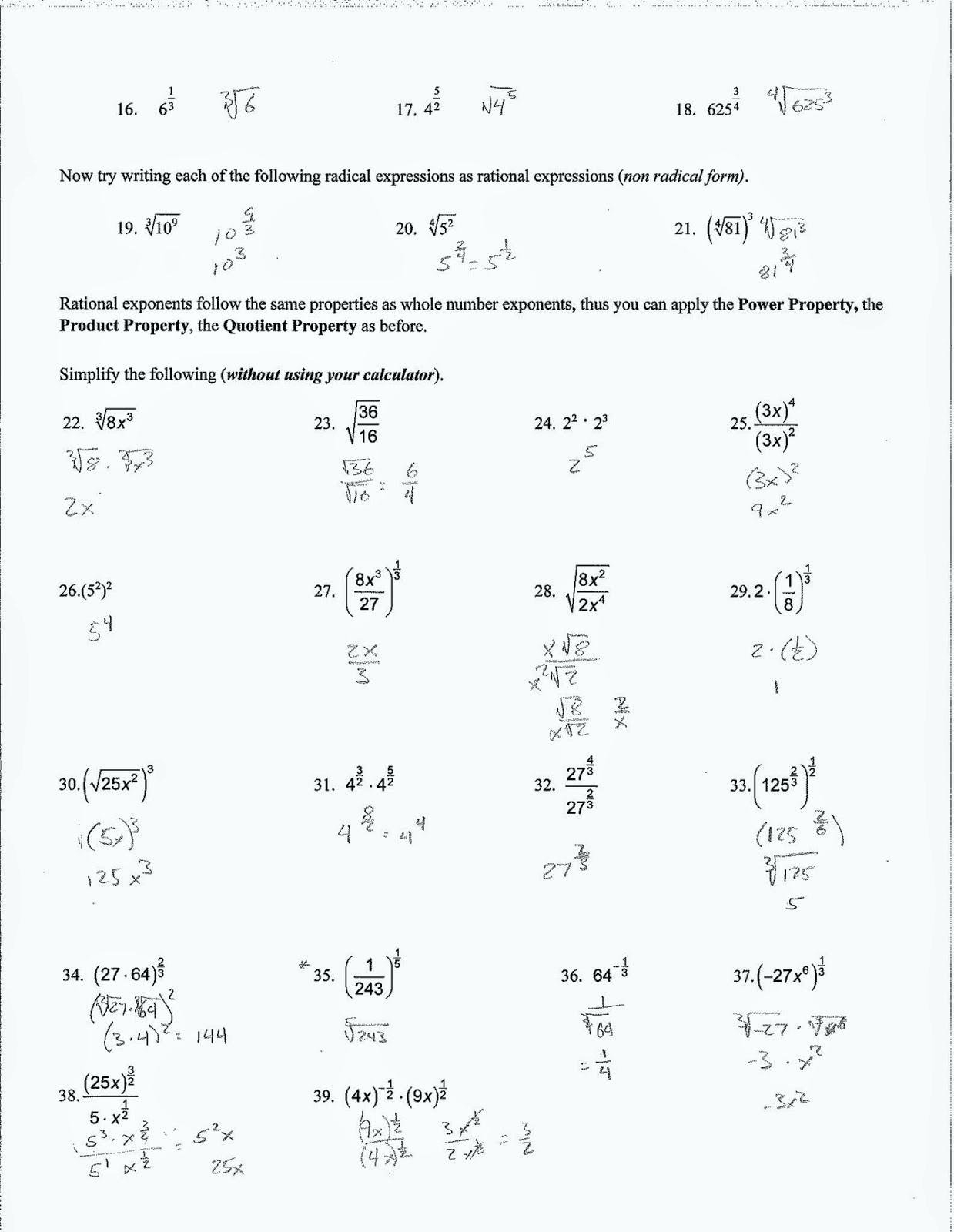 Geometry Simplifying Radicals Math Simplifying Radical Expressions Pertaining To Simplifying Radical Expressions Worksheet Answers