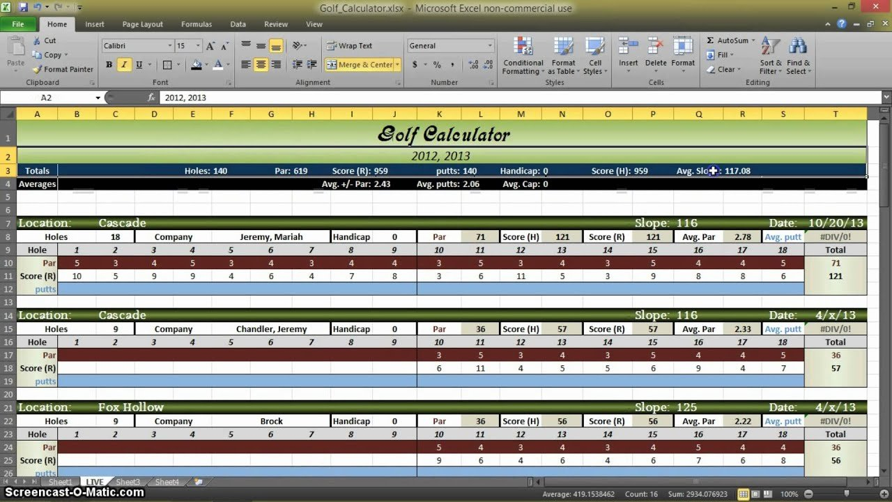 Golf Statistics Calculator In Excel   Part 1   Youtube As Well As Golf Stats Spreadsheet