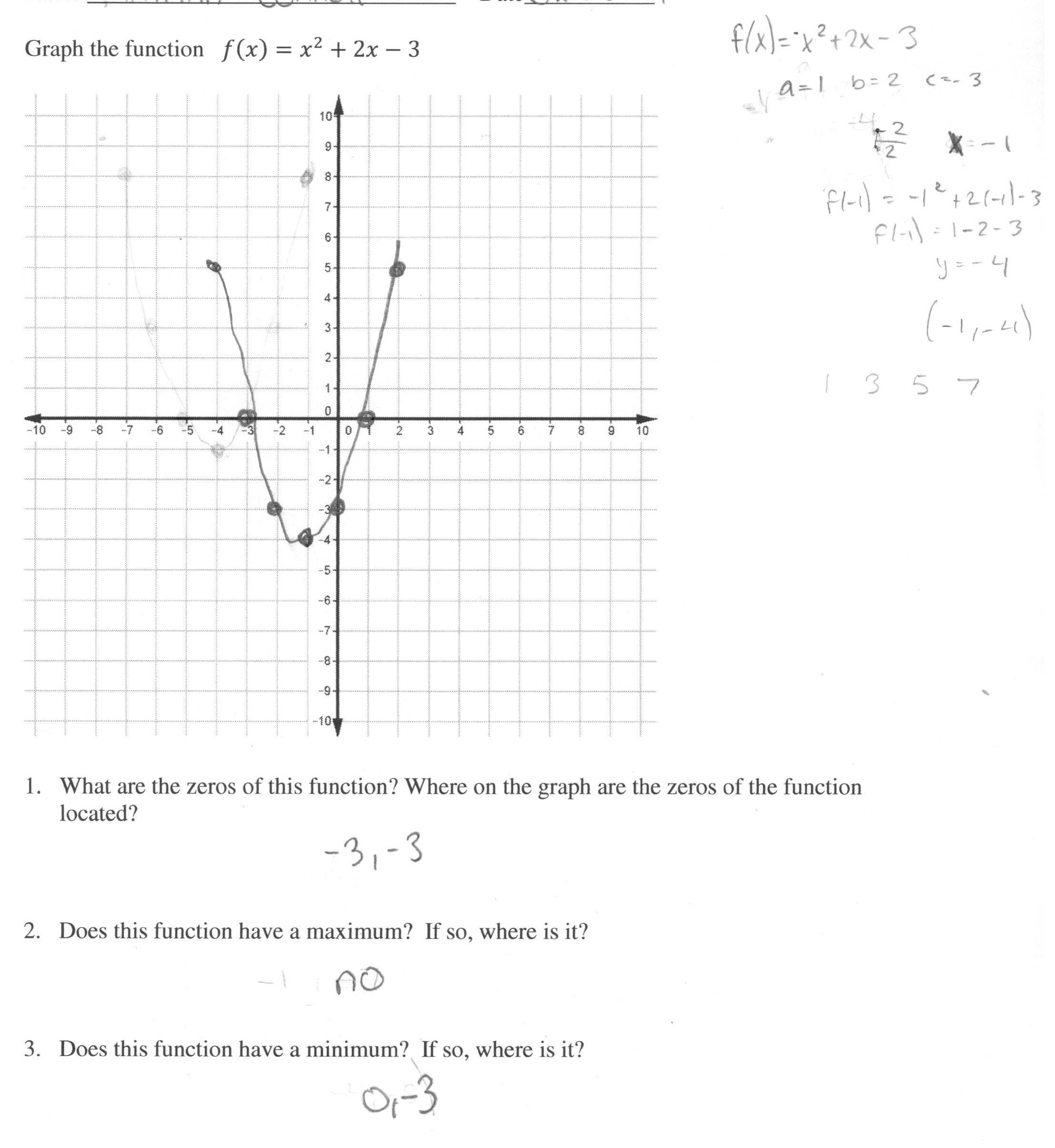 Graphing A Quadratic Function Students Are Asked To Graph A Within Graphing Parabolas Worksheet Algebra 1