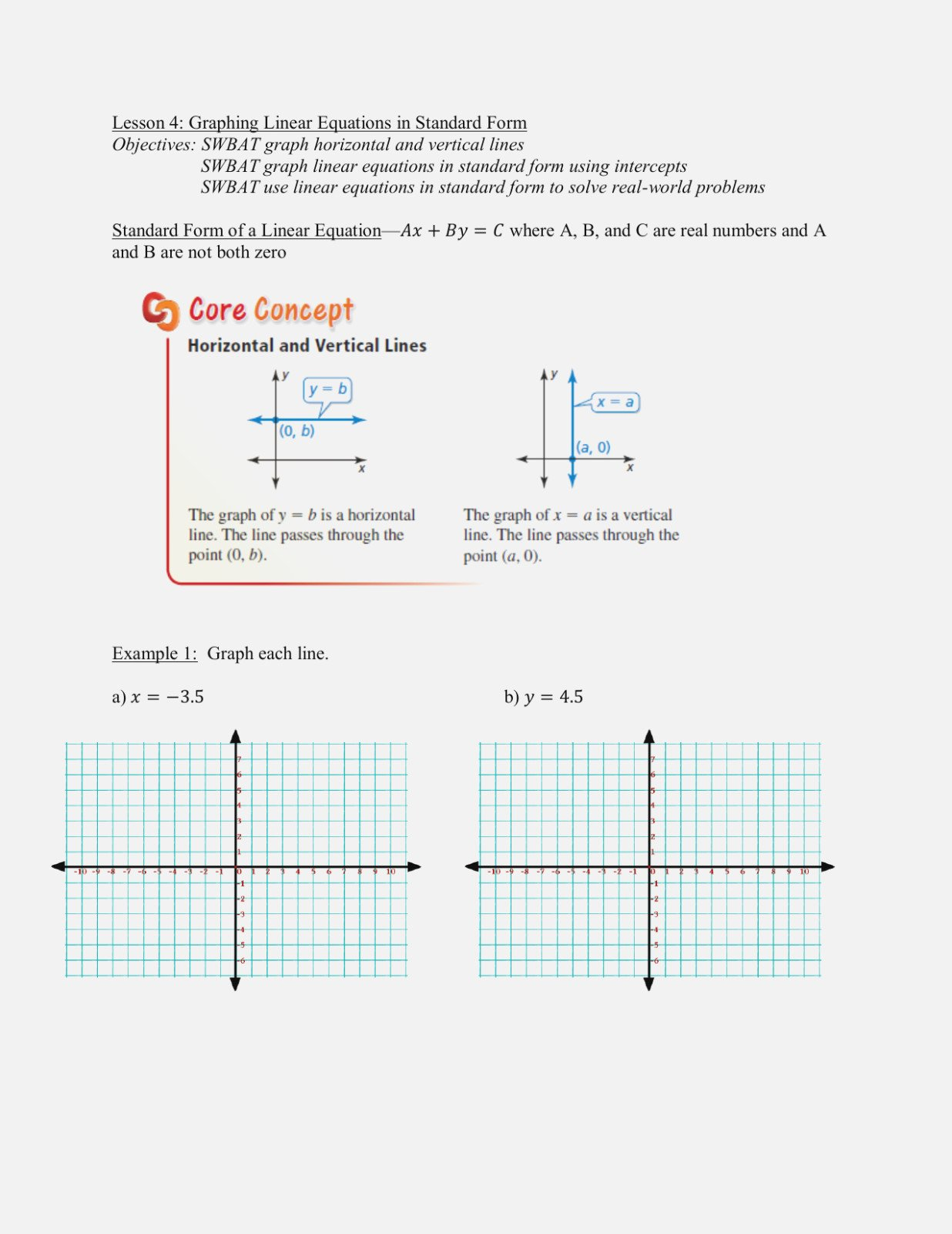 Graphing Linear Equations In Standard Form Worksheet The Best Also Graph Lines In Standard Form Worksheet