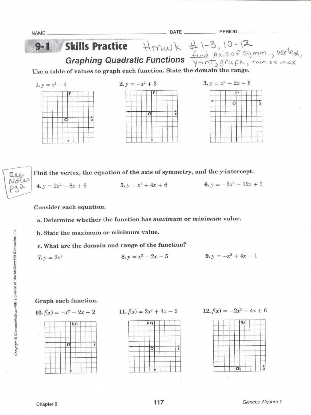 Graphing Parabolas In Vertex Form Inspirational Algebra 13 13 13 Regarding Graphing A Parabola From Vertex Form Worksheet Answer Key