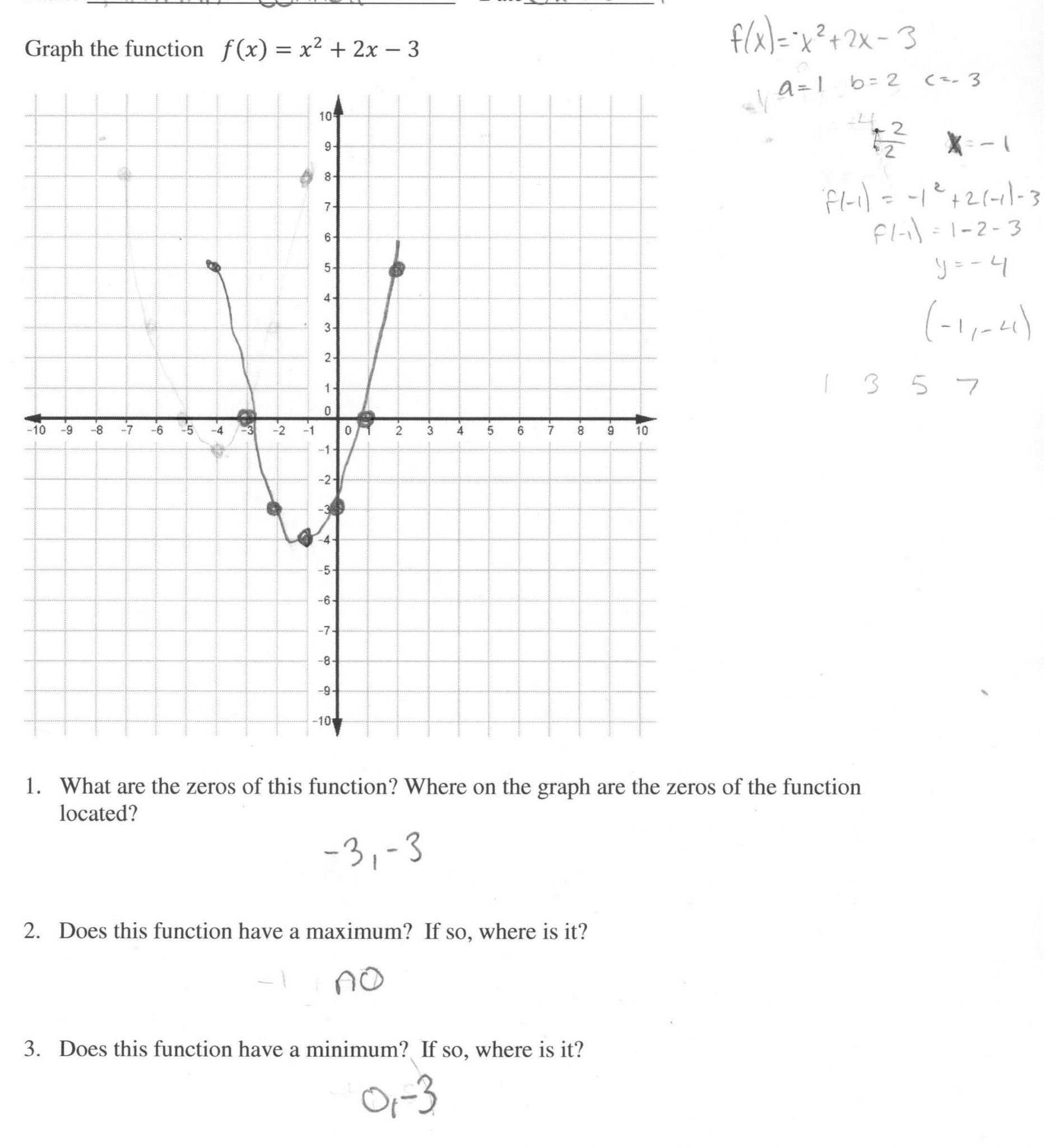 Graphing Quadratics Review Worksheet Answers  Briefencounters Intended For Graphing Quadratics Review Worksheet Answers