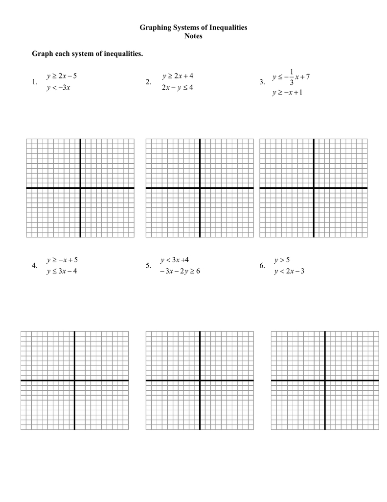 Graphing Systems Of Inequalities Notes Graph Each System Of Together With Systems Of Inequalities Worksheet