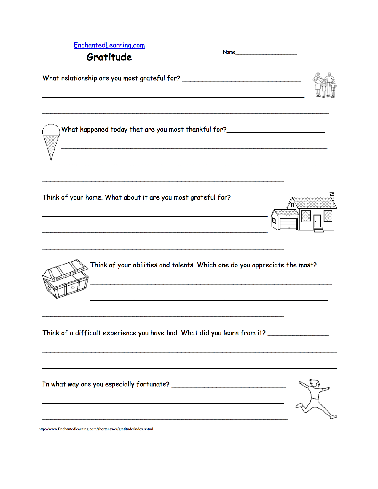 Gratitude  Short Answer Worksheet  Enchantedlearning Along With Gratitude Activities Worksheets