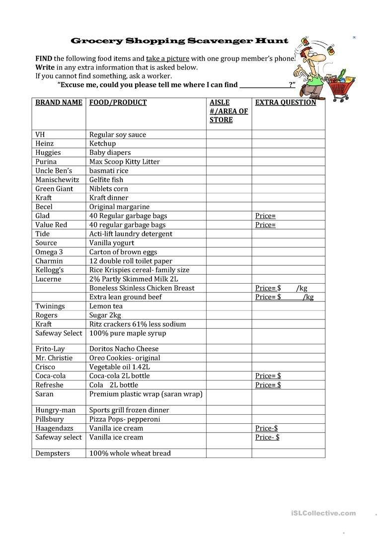 Grocery Shopping Scavenger Hunt Worksheet  Free Esl Printable For Grocery Store Scavenger Hunt Worksheet