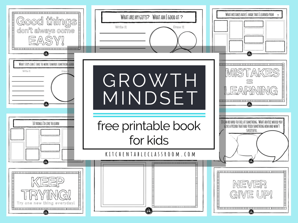 Growth Mindset For Kids Printable Book Growth Mindset Activities And Growth Mindset Worksheet Pdf