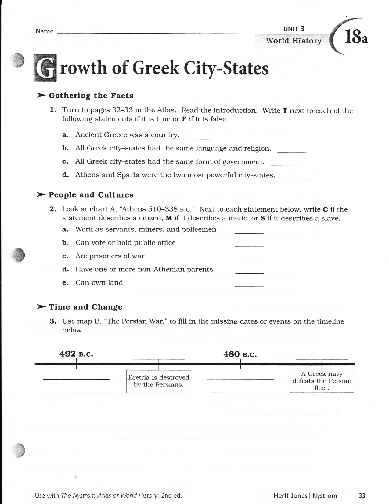 Growth Of Greek City States 18Ab And Nystrom Atlas Of World History Worksheets Answers