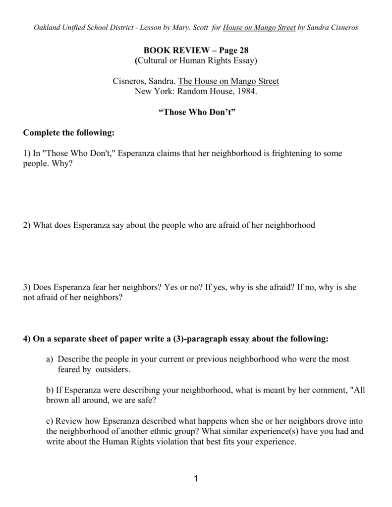 Guided Reading Worksheet Pp 28  Urban Dreams Pertaining To House On Mango Street Worksheets