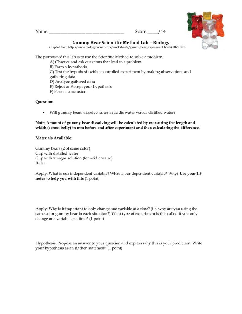 Gummy Bear Scientific Method Lab – Biology Intended For Gummy Bear Science Experiment Worksheet