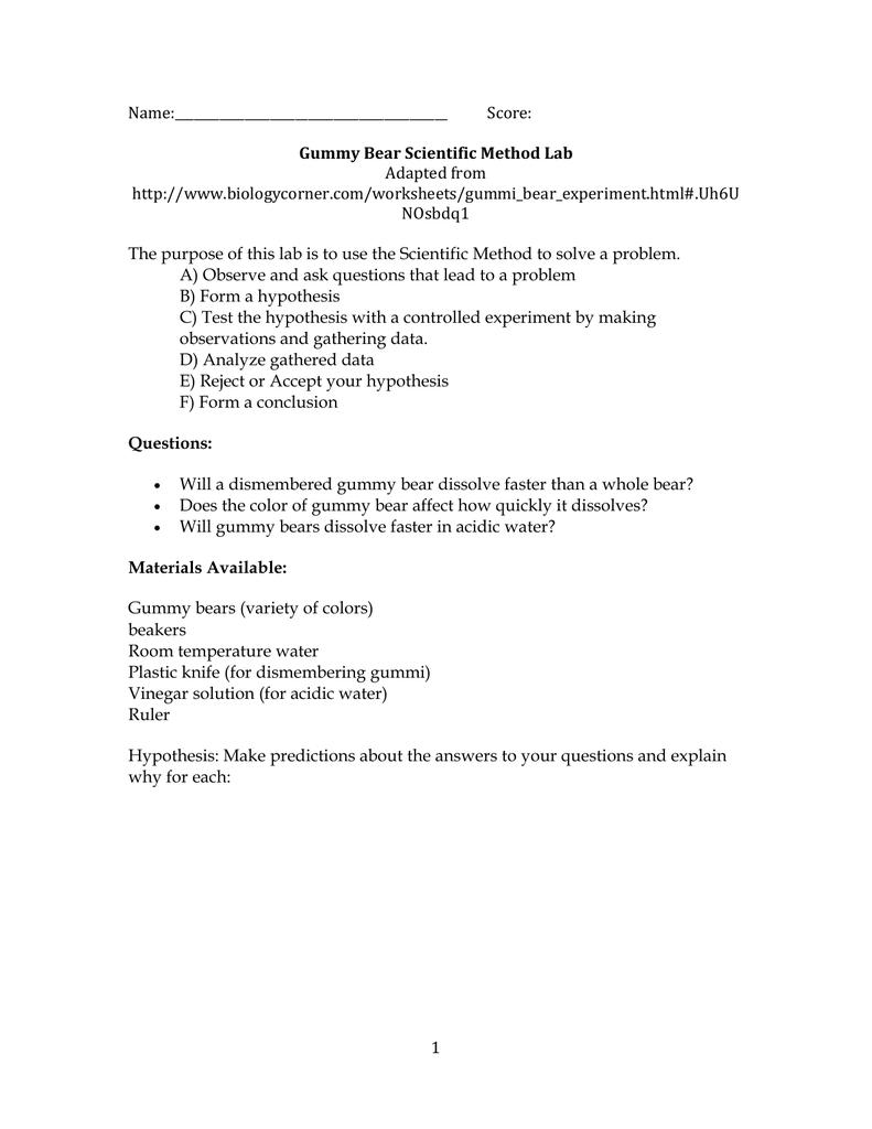 Gummy Bear Scientific Method Lab In Gummy Bear Science Experiment Worksheet