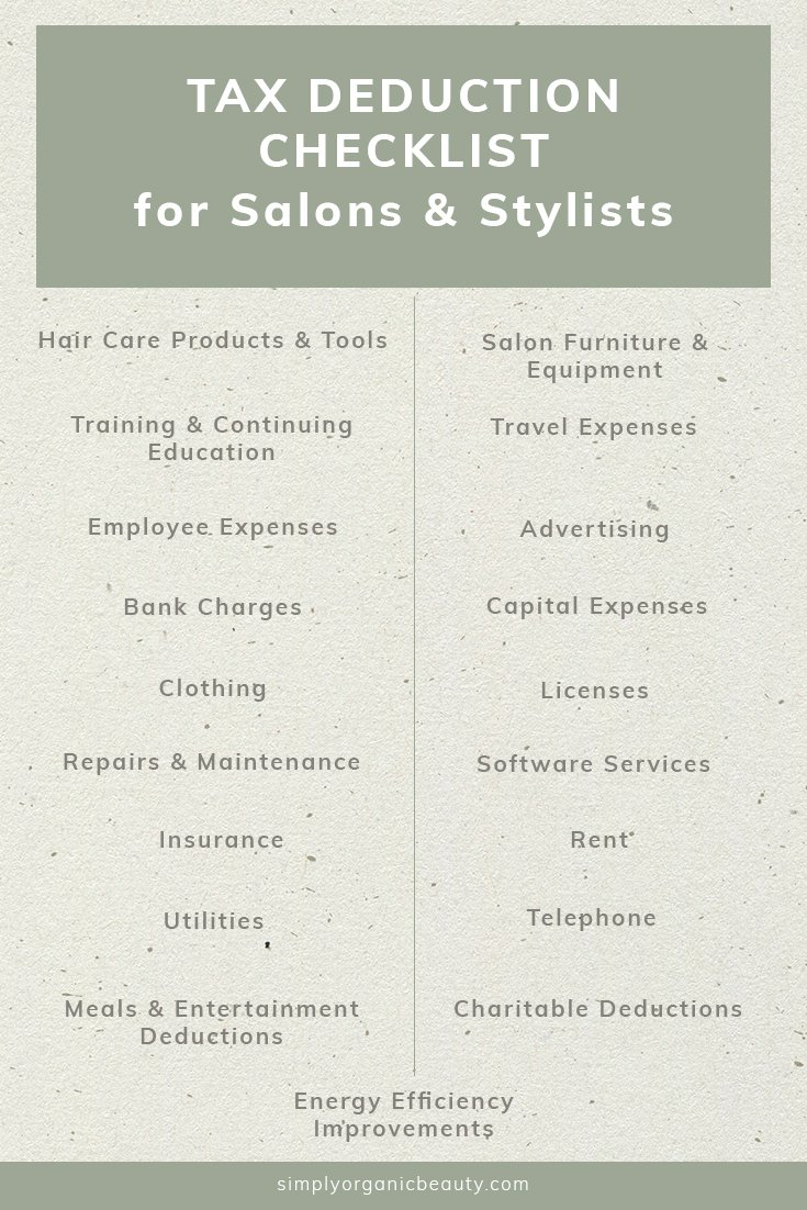Hair Stylist  Salon Tax Deduction Checklist  Simply Organic Beauty Intended For Cosmetology Tax Worksheet