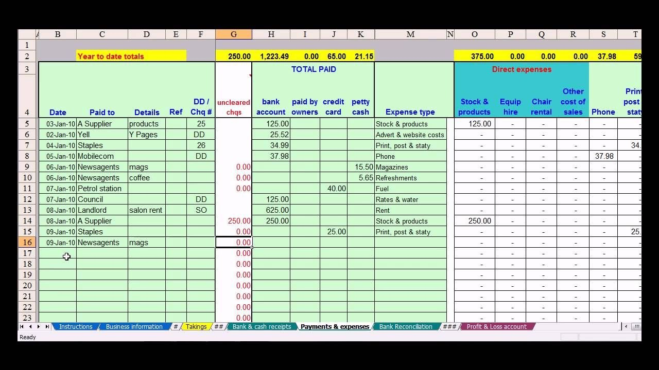 Hairdresser Bookkeeping Spreadsheet | Bookkeeping | Small Business ... Intended For Free Bookkeeping Spreadsheet