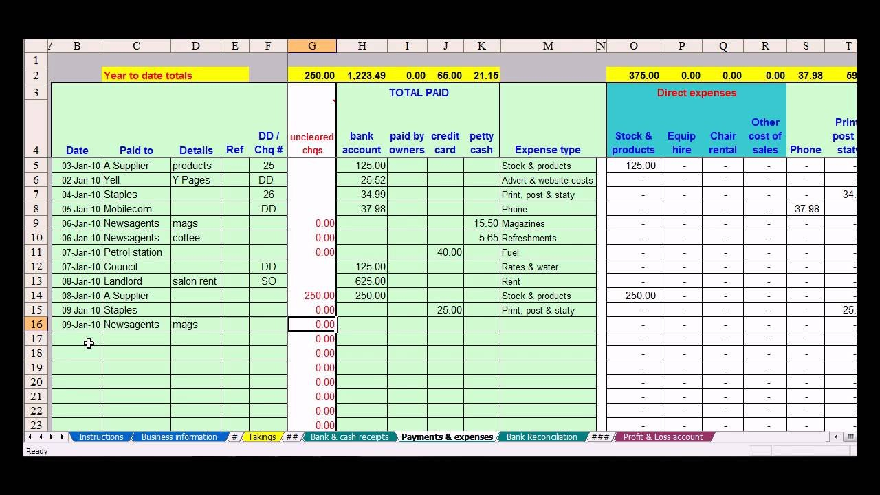 Hairdresser Bookkeeping Spreadsheet   Youtube For Hair Stylist Income Spreadsheet